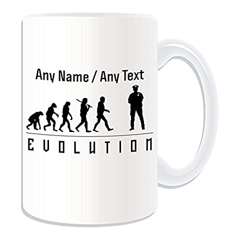 Personalised Gift - LARGE Police Mug (Evolution Design Theme, White) - Any Name / Message on Your Unique - Occupation Worker Staff Employee Silhouette Outline Contour Community Support Officer PCSO Policeman Hat Cap Uniform British Constable UK PC Sergeant Inspector Traffic PC SGT INSP CID Helmet History