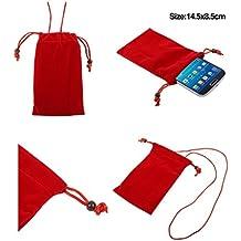 DFV mobile - Funda de Tela en Paño Suave con Cierre por Lazo y Colgante de Cuello para => TECNO R5 > Roja