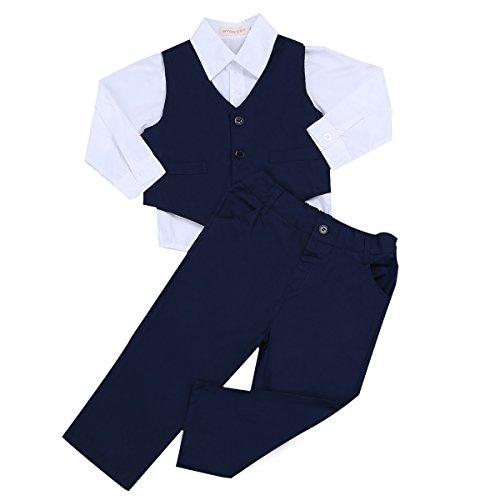 Tiaobug Baby Junge Anzug Smoking Klein Kinder Anzug Set Hochzeit festliche Kleidung Gentleman Anzüge Baumwolle Marineblau&Weiß 98-104 (Herstellergröße: 120)