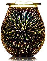 QUSUP glas elektro ätherisches öl-wärmer elektro weihrauch wax tart burner wachsschmelze warmer duft 3d-feuerwerk -