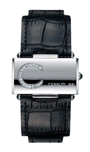 Cerruti CT068282001 - Reloj analógico de mujer de cuarzo con correa de piel negra - sumergible a 30 metros