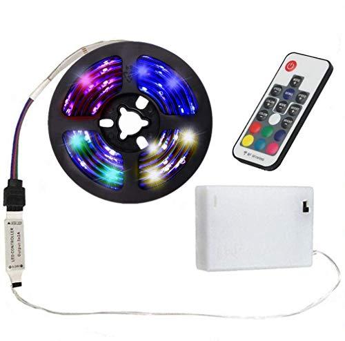 Mixtooltoys Akku-betriebene LED-Lichtband 2 m/2 m Flexible Seil Licht, Farbwechsel Streifen Beleuchtung wasserdicht mit 17 Schlüssel Fernbedienung Dekoration für Home/Hotel/Bar/Fahrrad Rad -