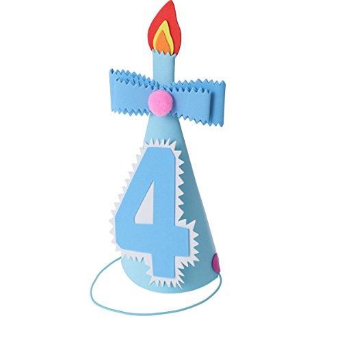 inder 4.Geburtstag mit 4 Zahlen Schleife Kerzen Kopfschmuck Geburtstagsfeier Zubehör Fotorequisiten für Jungen (Blau) ()