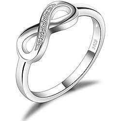 JewelryPalace Anillo infinito Amor Eterno de Circonia Cúbica Aniversario Promesa de Plata de ley 925 Tamaño 14