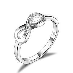 Idea Regalo - JewelryPalace Infinito Eterno Amore Cubic Zirconia Anniversario Promessa Anello 925 Sterling Argento 14.5