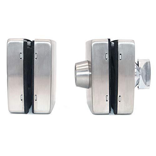 41H22uYbnGL - NUZAMAS Cerradura de puerta de cristal doble de acero inoxidable 201, acabado cepillado cuadrado, ambos lados abiertos, sin marco, para vidrio de 10 - 12 mm de grosor, para casa, oficina, muebles
