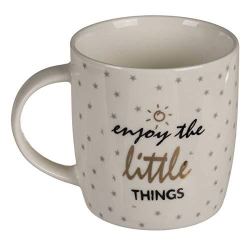 Kaffeebecher Enjoy the little things aus robustem Steingut, altweiß-gold-schwarz-grau, mit Sternmuster, Maße: Ø 8,5 cm (ohne Henkel), Höhe 10,5 cm, Vol. 300 ml, perfekte Geschenktasse