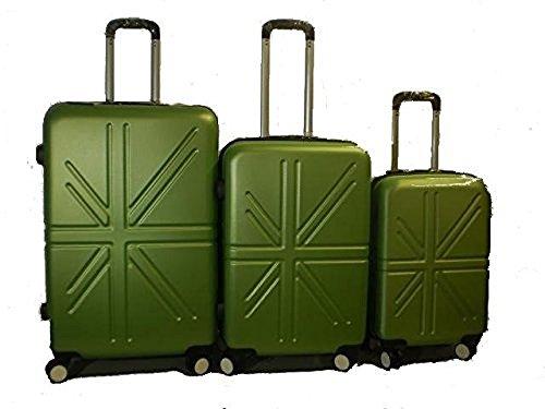 Set 3 Trolley rigide in ABS e policarbonato 4 ruote piroettanti colori vari (Verde)