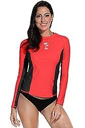 For G and PL Damen Rashguard UV Shirts Langarm Surf Shirt Badeshirts UPF 50+ Rot Medium