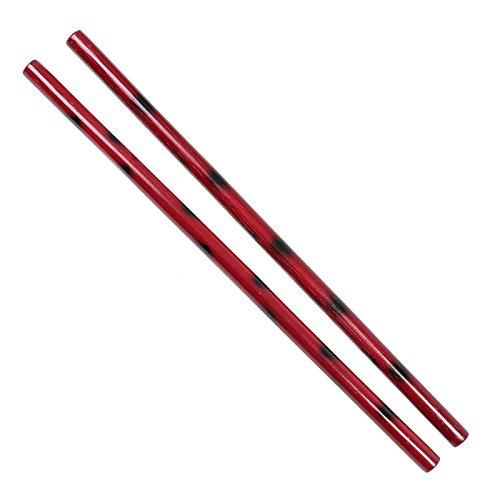 DEPICE w esrs 2x Bastone per Escrima Rattan Arma da Allenamento Colore Nero/Rosso 2 pz