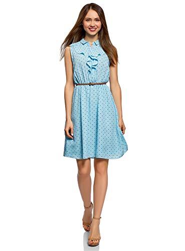 oodji Collection Damen Kleid aus Fließendem Stoff mit Rüschen, Blau, DE 36 / EU 38 / S - Kleid Rüschen Rock