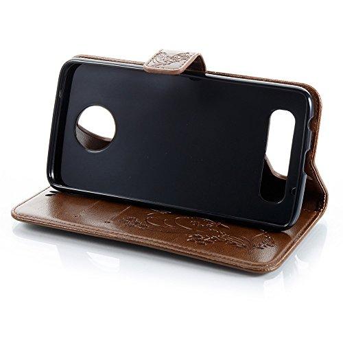 Solid Color Faux Leder Bookstyle Brieftasche Stand Case mit geprägten Blumen & Lanyard & Card Slots für Motorola MOTO Z2 Play ( Color : Darkblue ) Coffee
