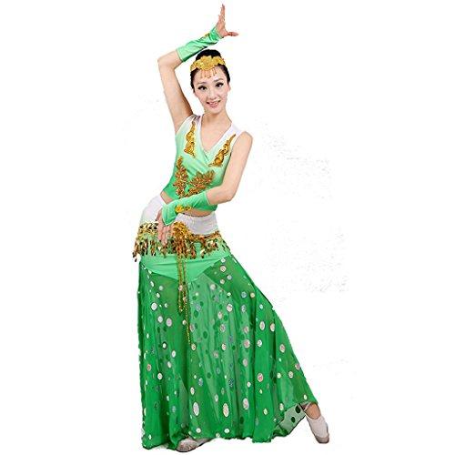 Kostüm Ethnischer Tanz - Byjia ethnische minderheit pfau Tanz kostüme Fisch Schwanz Rock Leistung Moderne Pailletten Frau chor bühne national Green l