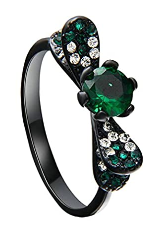 Gnzoe Jewelry, Wedding Ring for Women, Black Gold Bowknow 6 Prongs Lab Green Emerald Gem Ring Size J