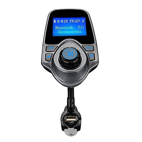 TianranRT KM18 Kabellos Bluetooth FM Sender MP3 Player Ladegerät Radio Adapter Auto Kit Wireless Transmitter Car (Grau)