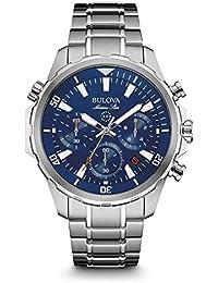 Bulova Marine Star 96B256 - Montre-bracelet de créateur - pour homme - chronographe/étanche - bracelet en acier inoxydable - cadran bleu