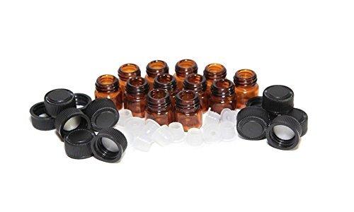 Flaconcini vuoti ricaricabili per di olio essenziale vetro ambrato / barattoli / contenitori / recipienti con tappo nero e orifizio riduttore per