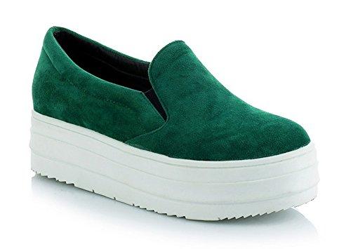 Aisun Senhoras Deslizamento-em Solas Grossas Sapatos Baixos Sapatilha Verde Camurça