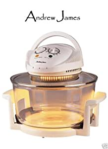 Andrew James 12 LTR Deluxe Halogen Oven Cooker Includes 128 Page Recipe Book+ 12 Month Warranty