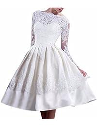 QIYUN.Z Manches Longues Blanc Fete De Mariage De Mariee Robe Femmes Backless Dentelle Tulle Robe