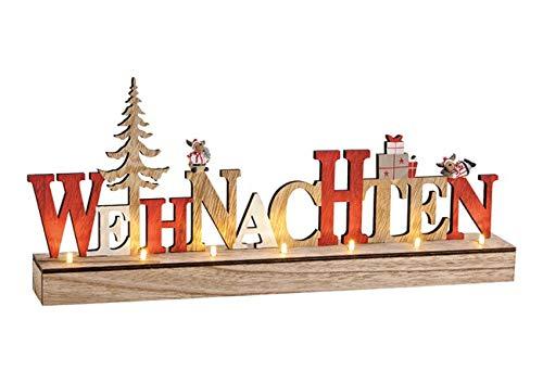 Weihnachts-Deko/Schriftzug Weihnachten aus Holz - LED beleuchtet - Weihnachts-Schmuck Figur - Weihnachts-Dekoration - Winter-Deko - Aufsteller - Advent