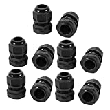 SLB Works 10pcs G1/2 Nylon 2 Hole Adjustable Cable Gland Connector Joint Black G 1/2-H2-05