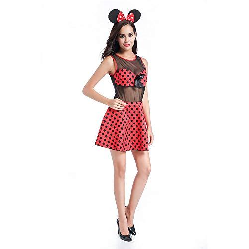 stüm, Red Polka Dot Minnie Mickey Plays Uniform, Playground Show Cosplay Costume,XL ()