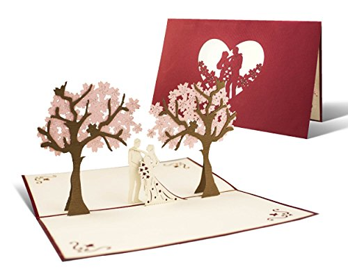 L10 Hochzeitskarte Glückwunsch und Einladung I Edel, Elegant I I originell I Pop Up Karte
