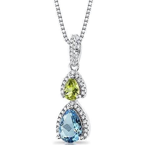 Suiza Revoni Azul topacio y abierto de Halo lazulí collar con colgante de plata de Ley con Piedra 2 1,75 quilates Total