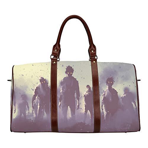 Reise-Seesack Verängstigte gruselige Zombie wasserdichte Weekender-Tasche Übernacht-Carryon-Handtasche Frauen-Damen-Einkaufstasche mit Mikrofaser-Leder-Gepäcktasche (So Nicht Gruselig Halloween-buch)
