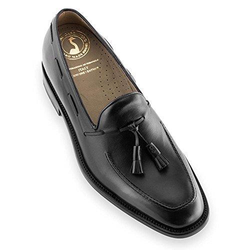 Scarpe con rialzo da uomo che aumentano l'altezza fino a 7 cm. fabbricate in pelle. modello valentino nero 43