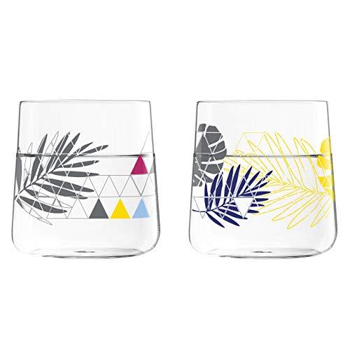 RITZENHOFF Daisy Gläserset, Glas, grau/blau/gelb/lila, 8.25 cm, 2-Einheiten