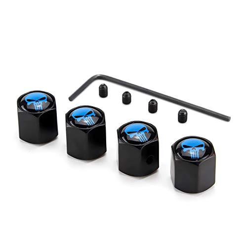DSYCAR 4 Stücke Klassische Schädel diebstahl Auto Staubkappen Chrom Auto Rad Reifen Ventilkappe für Auto/Motorrad, luftdicht Und Schutz Ihr Ventilschaft (Schwarz Blau) (Chrom-motorrad-räder)