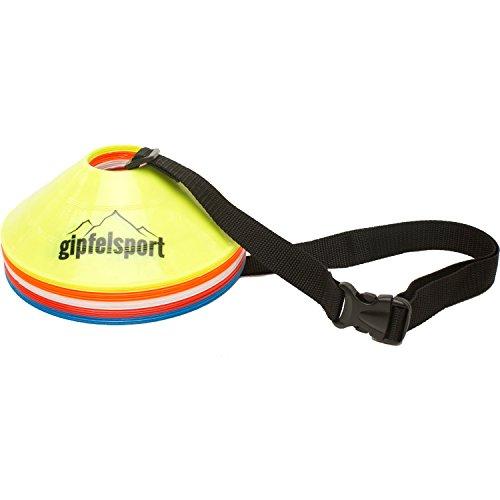 gipfelsport Fussball Hütchen - Markierungshütchen Set für Fußball Training | 20er Set mit Tragegurt