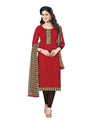 Applecreation Women's Chanderi Cotton Salwar Kameez (Red, 21SPRK2107)