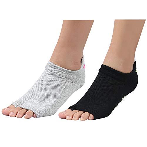 +MD 2 Paar Yoga Socken für Damen rutschfeste Yoga-Socken ohne Zehen mit Griffen für Pilates, Pure Barre, Ballett
