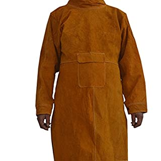 QEES Welding Jacket Flame Resistant Welding Apron with Cowhide Leather and Adjustable Size as Gift WQ23 (L) Brown