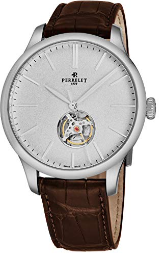 Perrelet First Class Open Heart Mens Automatic Watch - 42mm Analog White Face with Second Hand and Sapphire Crystal - Brown Leather Band Stainless Steel Swiss Made Luxury Dress Watches for Men A1087/4