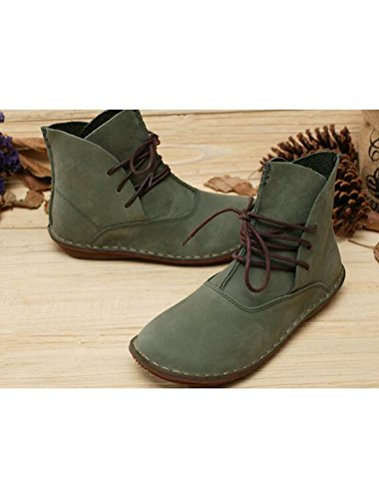 MatchLife Femme Cuir Bottes Lacets Plate Chaussures Style2-Vert