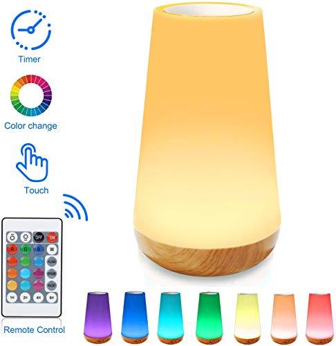 Lámpara de mesita de noche con sensor táctil, Ajuste táctil combinado con control remoto, 13 opciones...