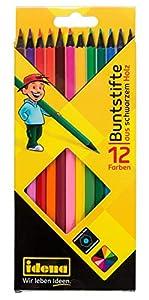 Idena 10324-Lápices de Colores con Madera Negro, Estuche de cartón de 12