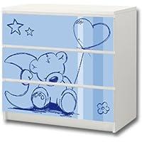 """""""Knuddelwelt"""" in blau Möbelsticker/Aufkleber - M3K18 - passend für die Kommode mit 3 Fächern/Schubladen MALM von IKEA - Bestehend aus 3 passgenauen Kinderzimmer Möbelfolien (Möbel nicht inklusive) preisvergleich bei kinderzimmerdekopreise.eu"""