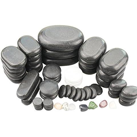 Hot Stone Set di 64pietre basaltiche Chakra Cold Stone Nero
