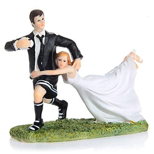 Morza Couple drôle de Rugby Figurine gâteau de Mariage Topper Poupée Cadeau Résine Artisanat Party Decoration
