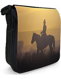 Cowboy On Horse Small Black Canvas Shoulder Bag / Handbag
