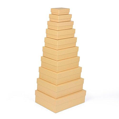 EAST-WEST Trading GmbH Geschenkboxen, 10er Set, stabiles Material mit feinem Kraftpapier überzogen, Kraftpapierboxen, auch für Scrapbooking