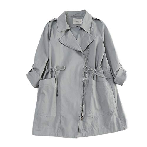 CuteRose Women Cargo Pocket Jackets Notch Lapel Drawstring Long Trenchcoat Blue M