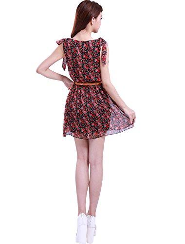 Allegra K Lady Clip Schleifenknopf Schulter Gummibund Blumenmuster Aufdruck Gefüttert Kleid Rot