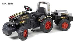 Falk - 1075B - Vélo et Véhicule pour Enfant - Tracteur - Farm King Xline 900 + Remorque - Grand Volume