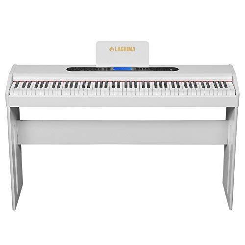 Mecor E-300 Digital Piano Keyboard 88 Tasten mit Pedale, Adapter & USB/MP3 Weiß